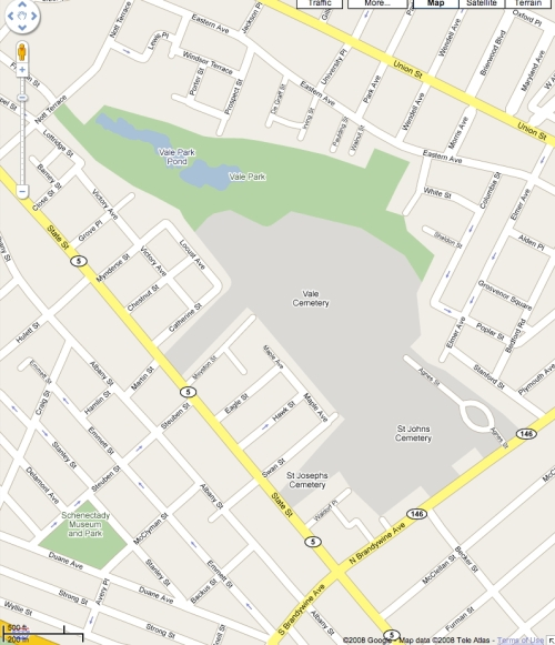 Google Map of Vale shows location within center of the city.