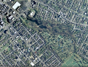 A few of the sites are labeled on this Google Earth view of Vale Cemetery.